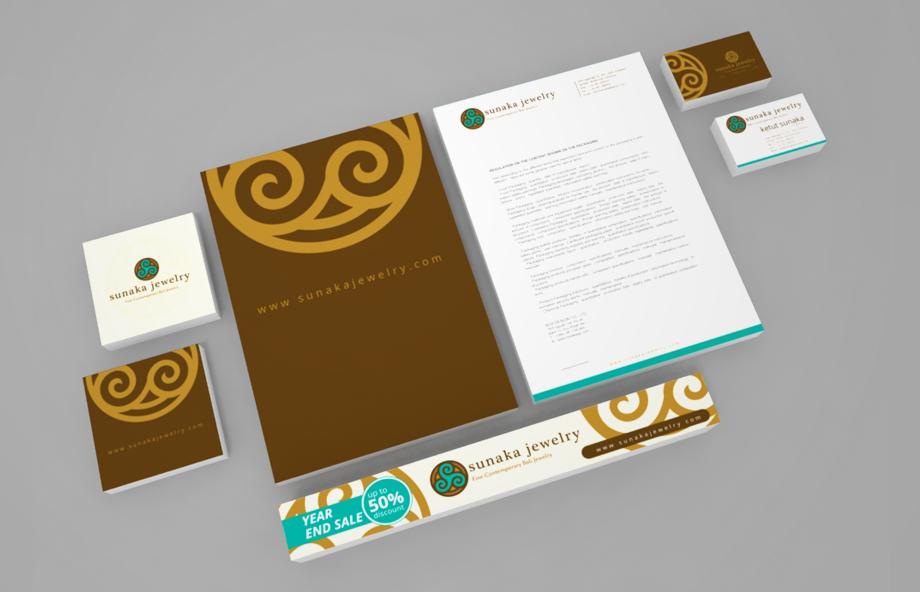 bali graphic design Sunaka Jewelry Logo and corporate Identity